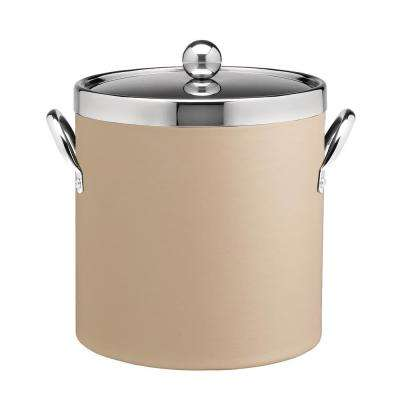 Contempo 3 Qt. Beige Ice Bucket with Chrome Lid and Side Handles