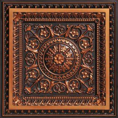 La Scala 2 ft. x 2 ft. PVC Glue-up or Lay-in Ceiling Tile in Antique Copper