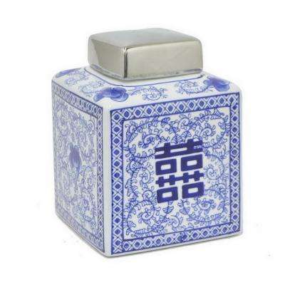 8.25 in. Blue and White Ceramic Square Jar with Silver Lid