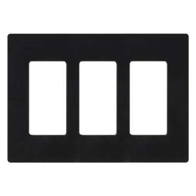 Claro 3 Gang Decorator Wallplate, Black
