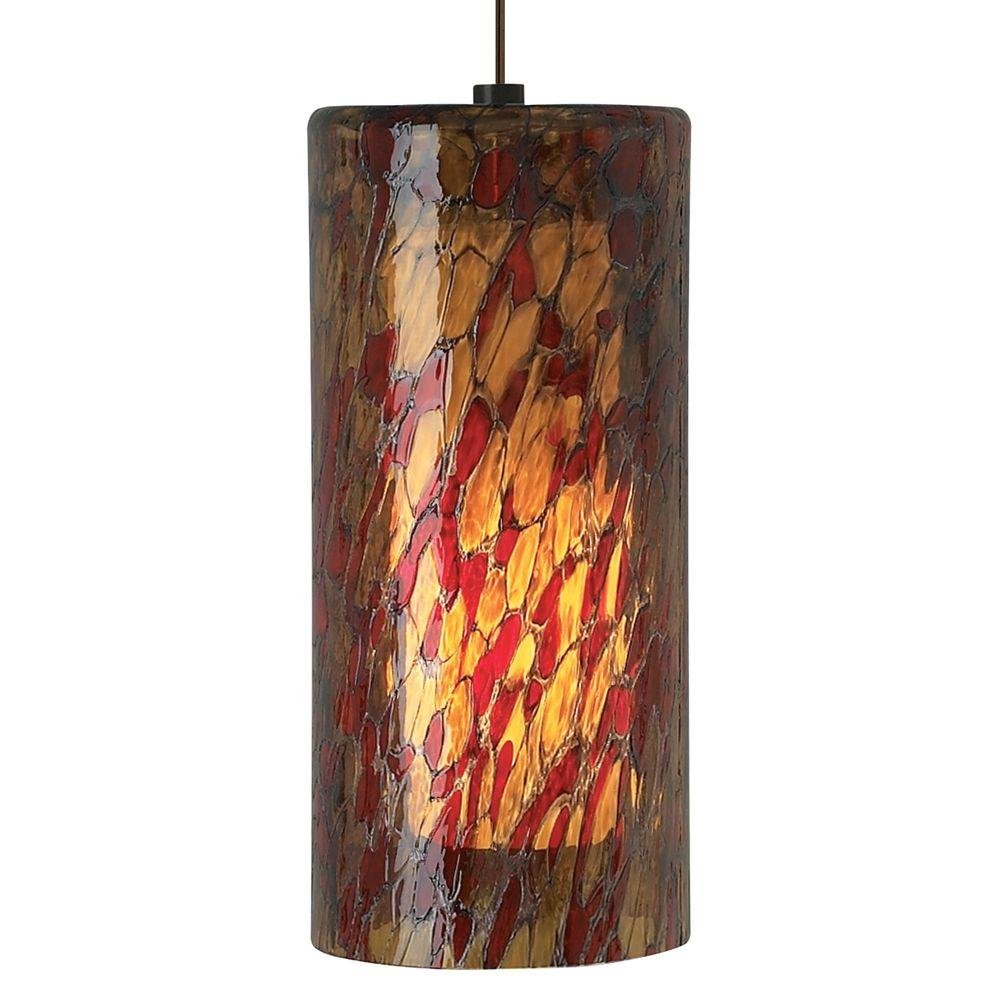 Abbey Grande 1-Light Bronze Pendant with Amber-Red Shade