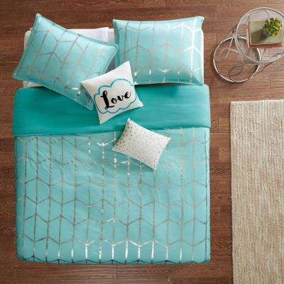 Khloe 5-Piece Aqua/Silver Full/Queen Geometric Duvet Cover Set