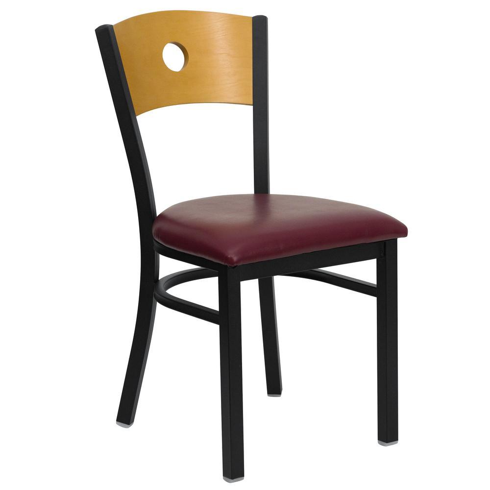 Hercules Series Black Circle Back Metal Restaurant Chair - Natural Wood