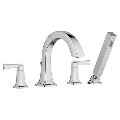 Townsend 2-Handle Deck-Mount Roman Tub Faucet for Flash Rough-in Valves with Hand Shower in Polished Chrome