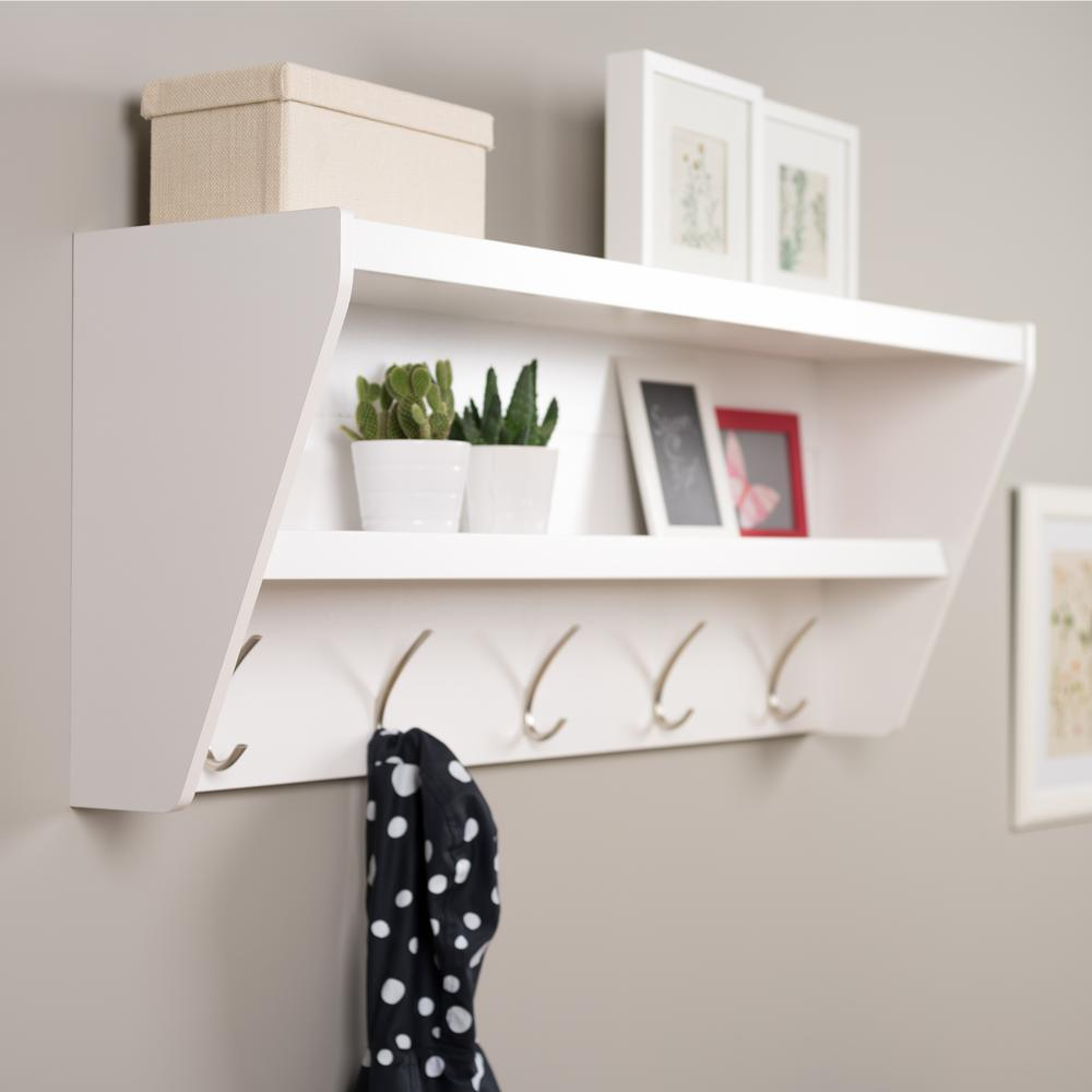 Prepac 485 In X 1925 In Floating Entryway Shelf And Coat Rack In