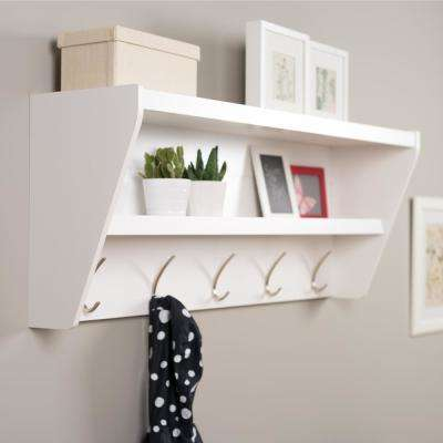 48.5 in. x 19.25 in. Floating Entryway Shelf and Coat Rack in White