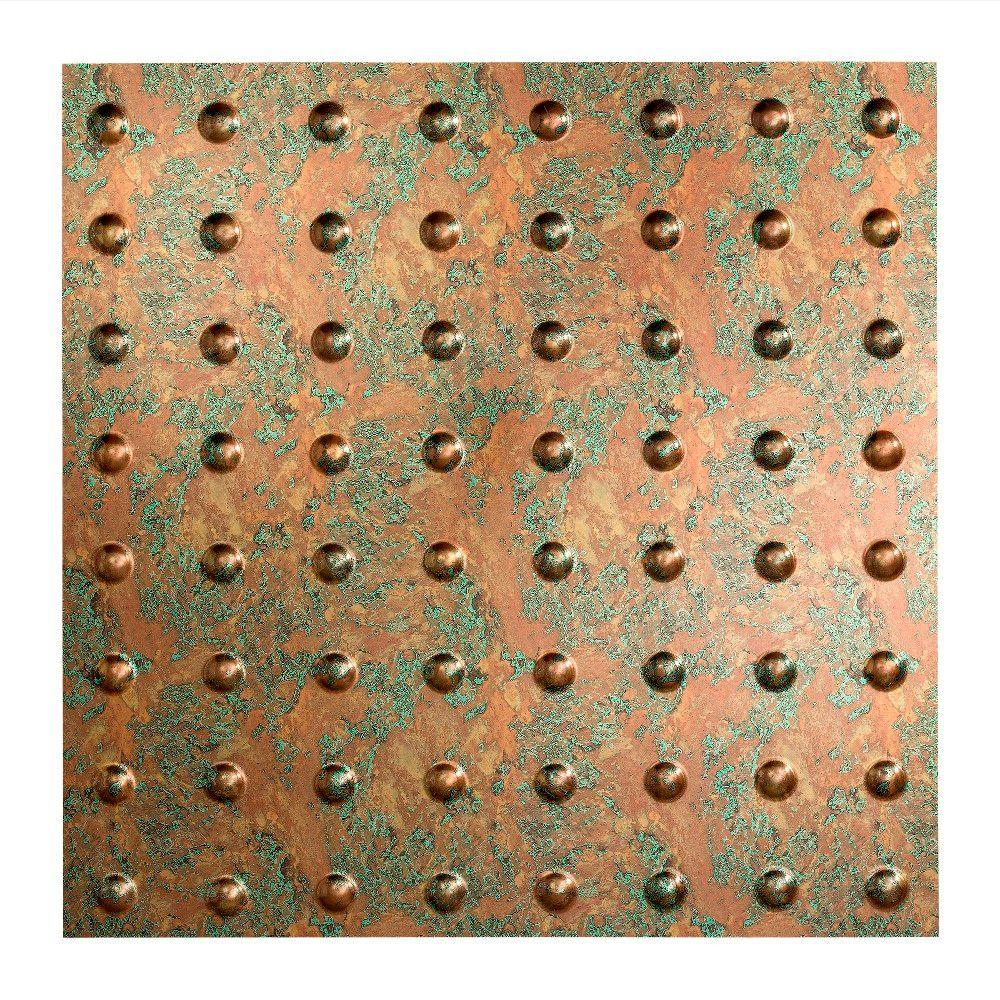Fasade Dome 2 Ft X 2 Ft Copper Fantasy Lay In Vinyl Ceiling Tile 20 Sq Ft Pl6311 The Home Depot
