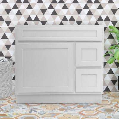 36 in. W x 21 in. D x 32.5 in. H 2-Right Drawers Bath Vanity Cabinet Only in White