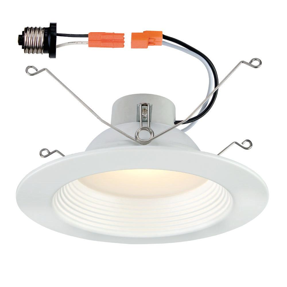 5 in. / 6 in. White Integrated LED Recessed Baffle Trim