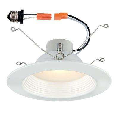 5 in. / 6 in. White Integrated LED Recessed Baffle Trim 90 CRI, 2700K