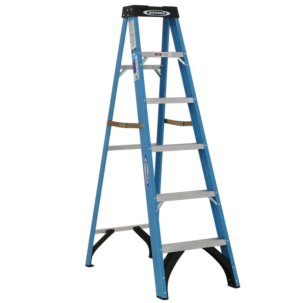 Werner 6 ft. Fiberglass Step Ladder with 250 lb. Load Capacity Type I Duty Rating
