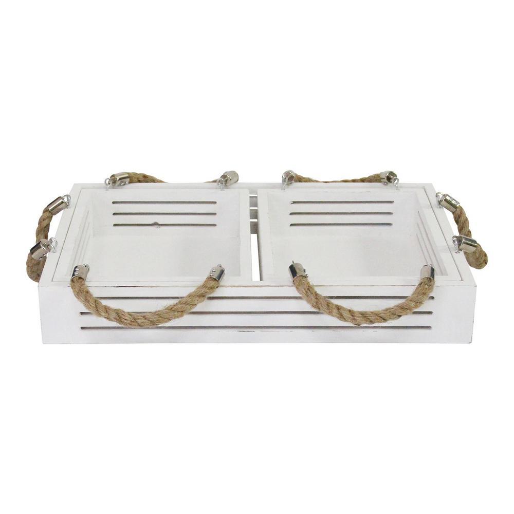 Stratton White Home Decor Hampton Nesting Trays (Set of 3)
