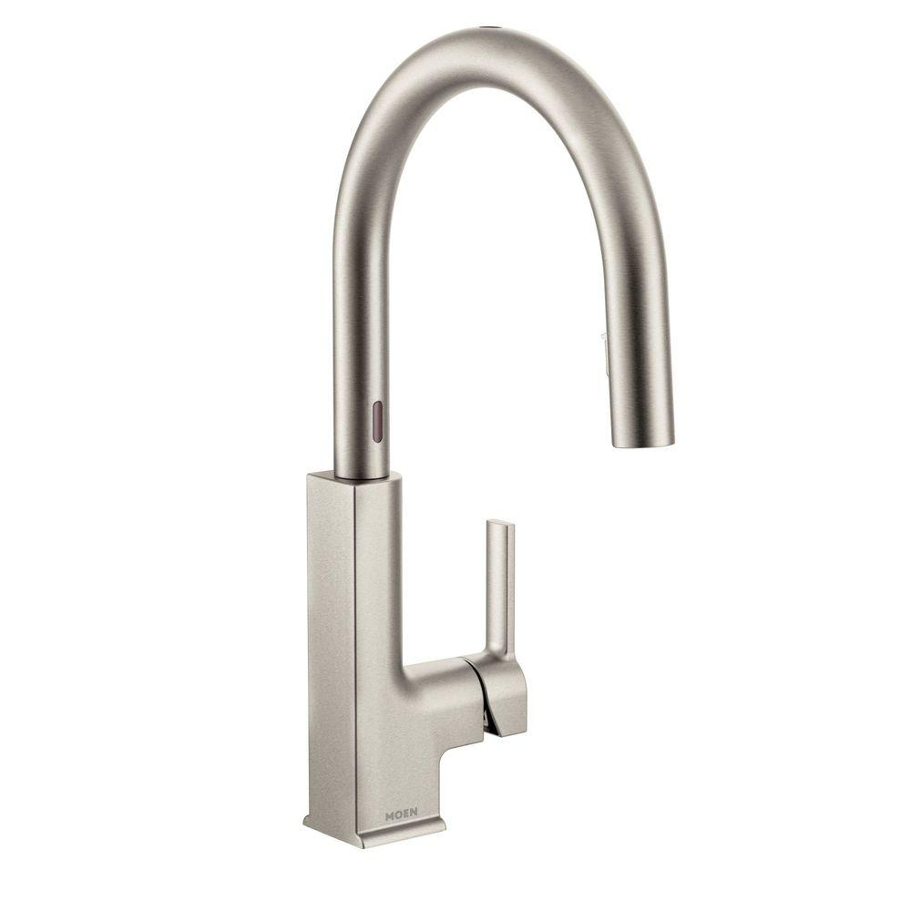 Elegant MOEN STo Single Handle Pull Down Sprayer Touchless Kitchen Faucet With  MotionSense In Spot