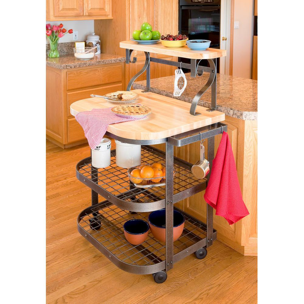 Enclume Handcrafted Kitchen Bakeru0027s Cart Hammered Steel With Eastern Maple  Butcher Block