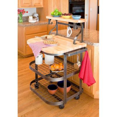Handcrafted Baker's Hammered Steel Kitchen Cart with Butcher Block Top