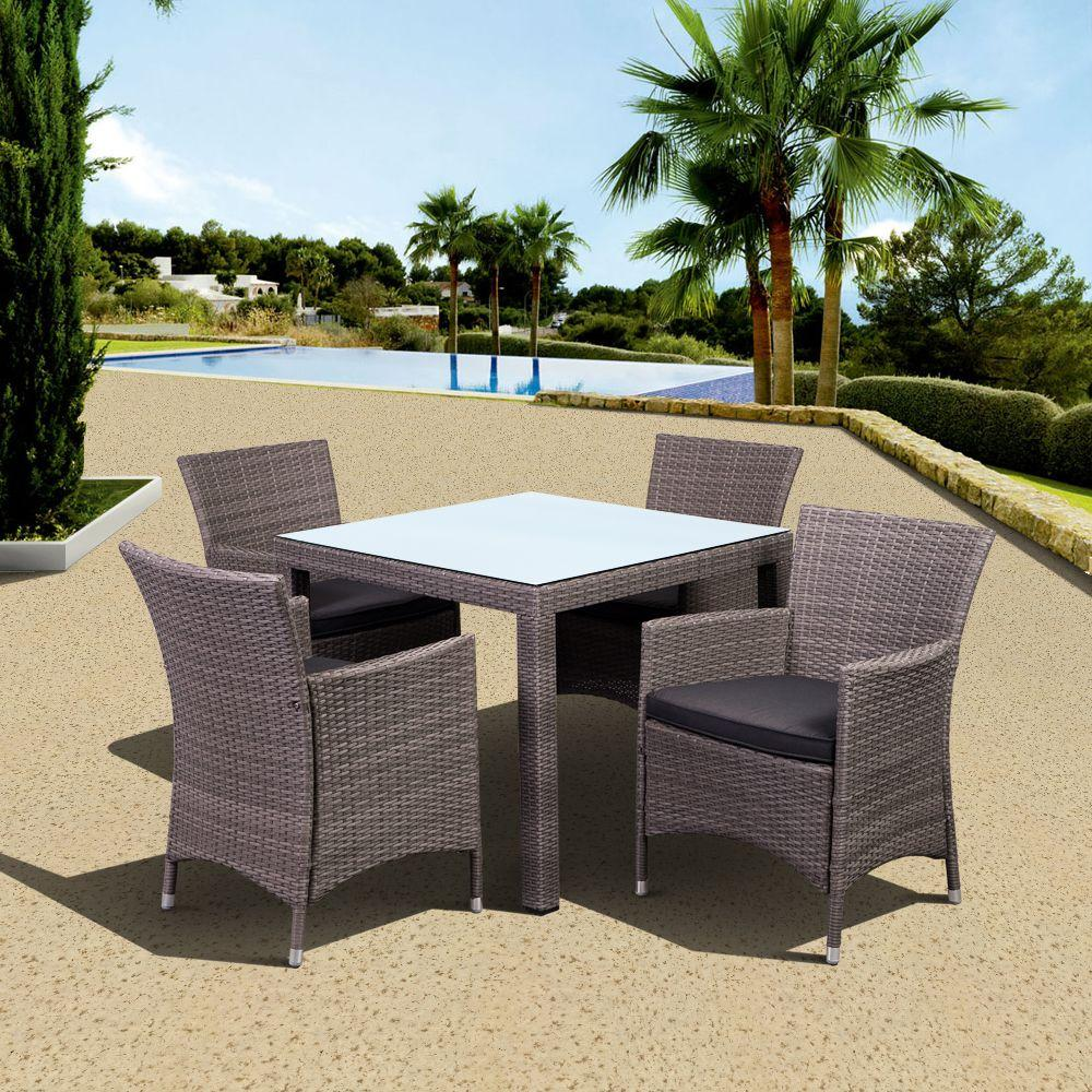 Atlantic Contemporary Lifestyle Grand New Liberty Deluxe Gray Square 5-Piece All-Weather Wicker Patio Dining Set with Gray Cushions