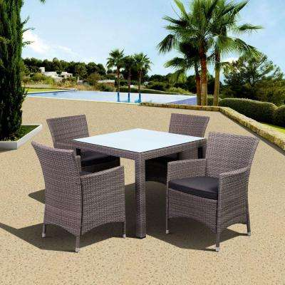 Grand New Liberty Deluxe Gray Square 5-Piece All-Weather Wicker Patio Dining Set with Gray Cushions