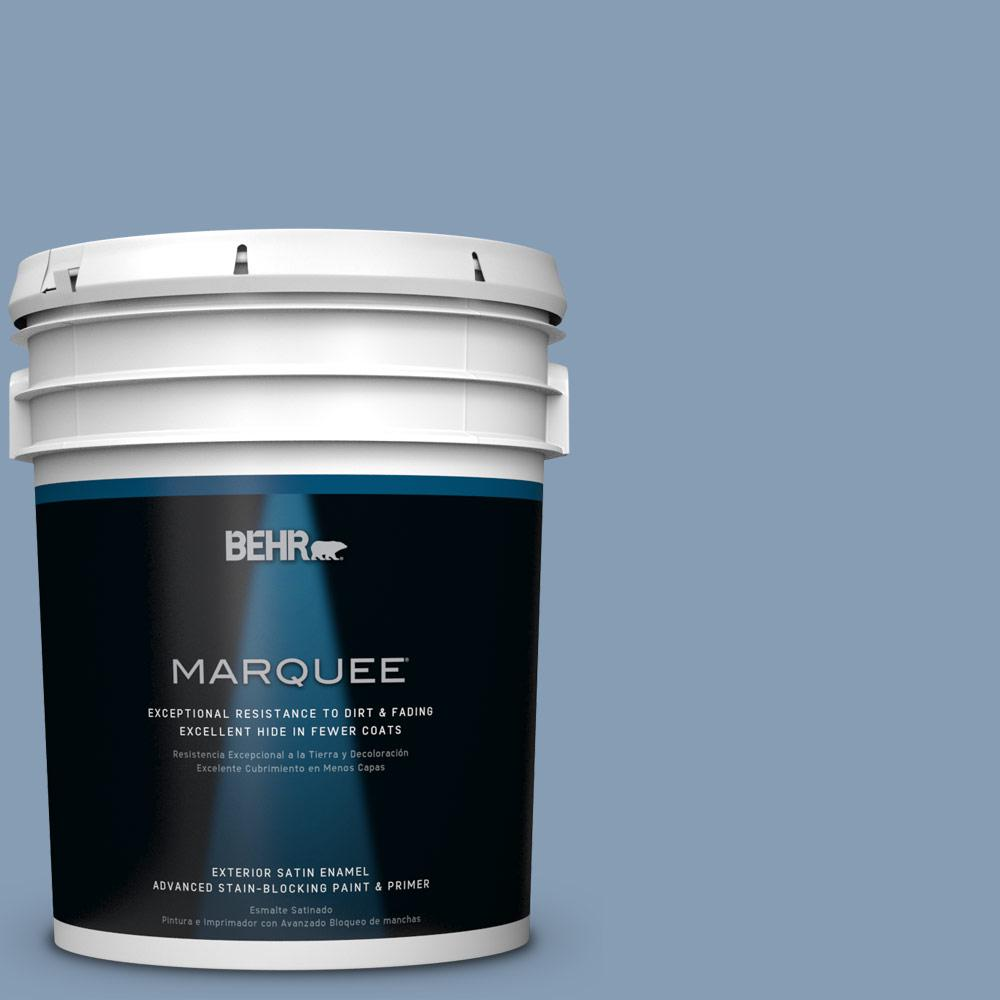 BEHR MARQUEE 5 gal. #S520-4 Private Jet Satin Enamel Exterior Paint and Primer in One
