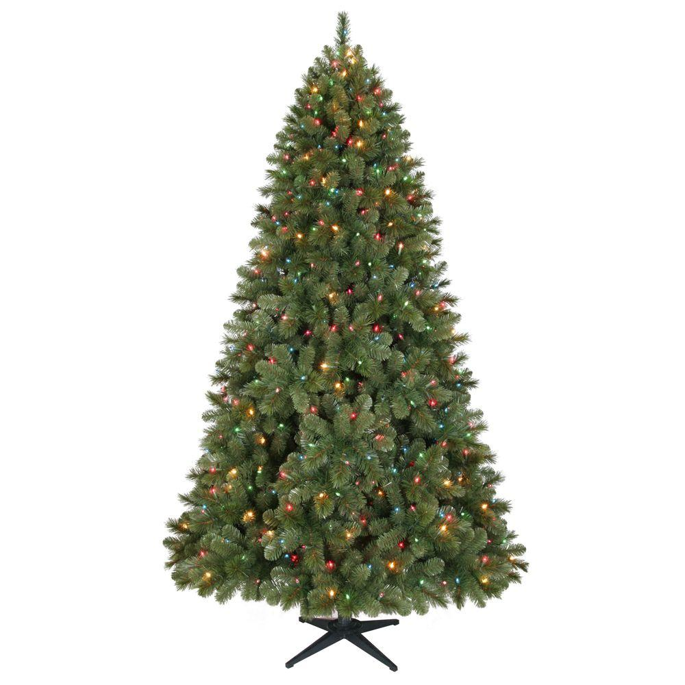 Home Accents Holiday 7.5 ft. LED Pre-Lit Wesley Pine Artificial Christmas Tree with Multi-Color Lights-DISCONTINUED