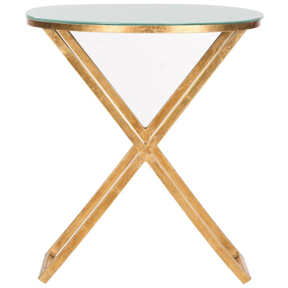 Riona Gold and White Glass Top End Table