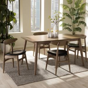 Flora 5-Piece Black Faux Leather and Medium Brown Wood Dining Set