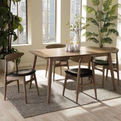 Flora 5 Piece Black Faux Leather And Medium Brown Wood Dining Set
