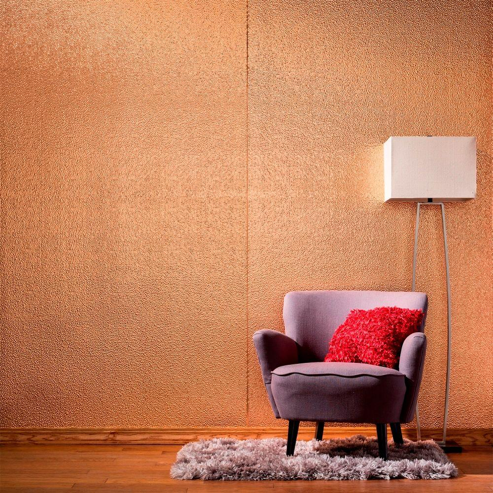 Fasade 96 in. x 48 in. Hammered Decorative Wall Panel in Polished Copper