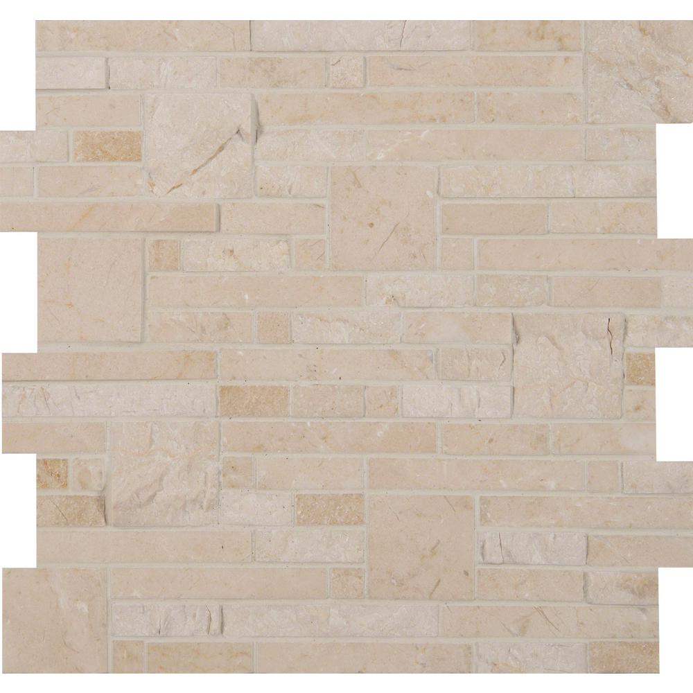 MSI Crema Opus 12 in. x 12 in. x 10mm Natural Marble Mesh-Mounted Mosaic Tile (10 sq. ft. / case)
