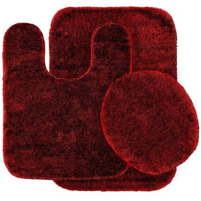 Traditional Chili Pepper Red 21 in. x 34 in. Washable Bathroom 3 Piece Rug Set