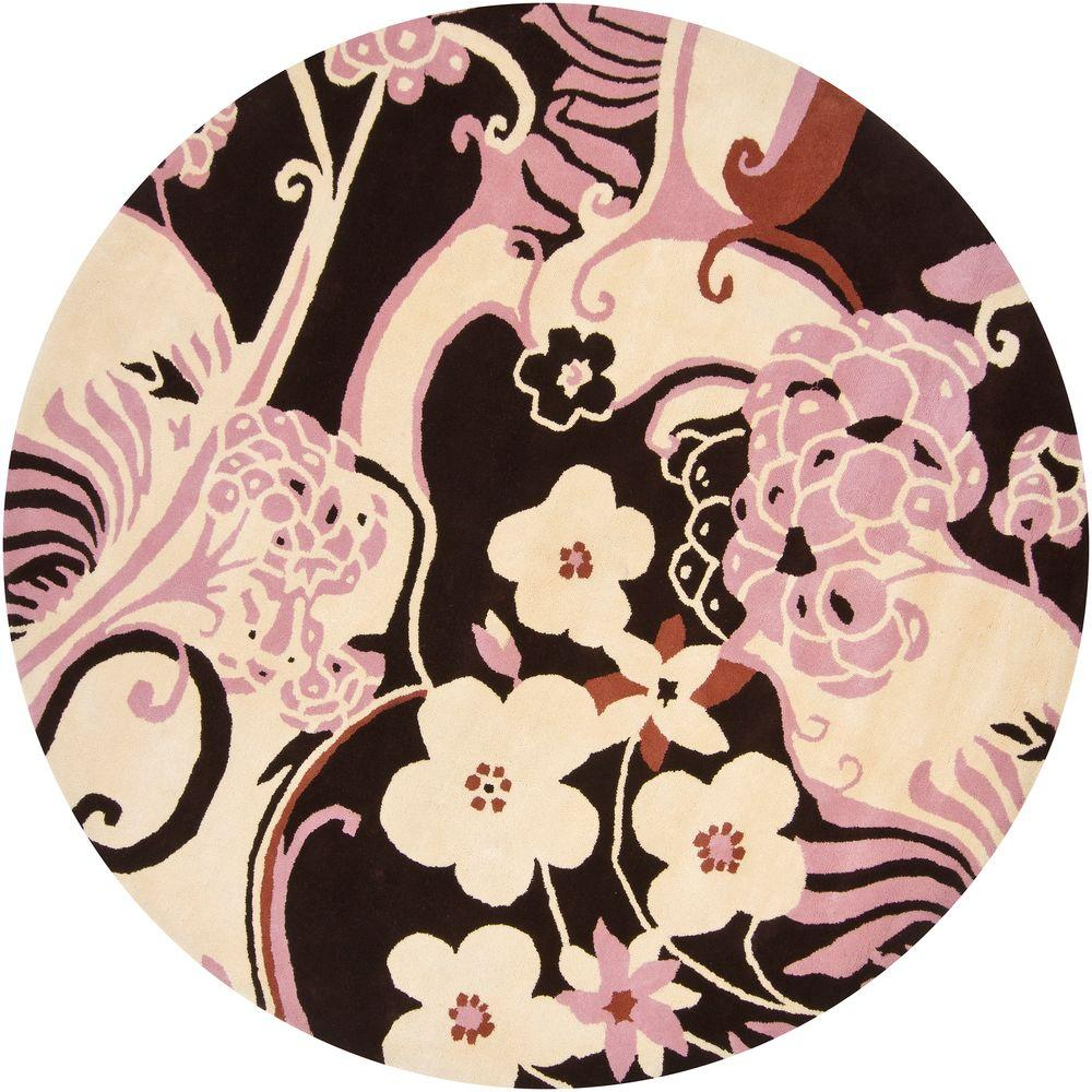 Dharma Pink/Cream 8 ft. Round Area Rug