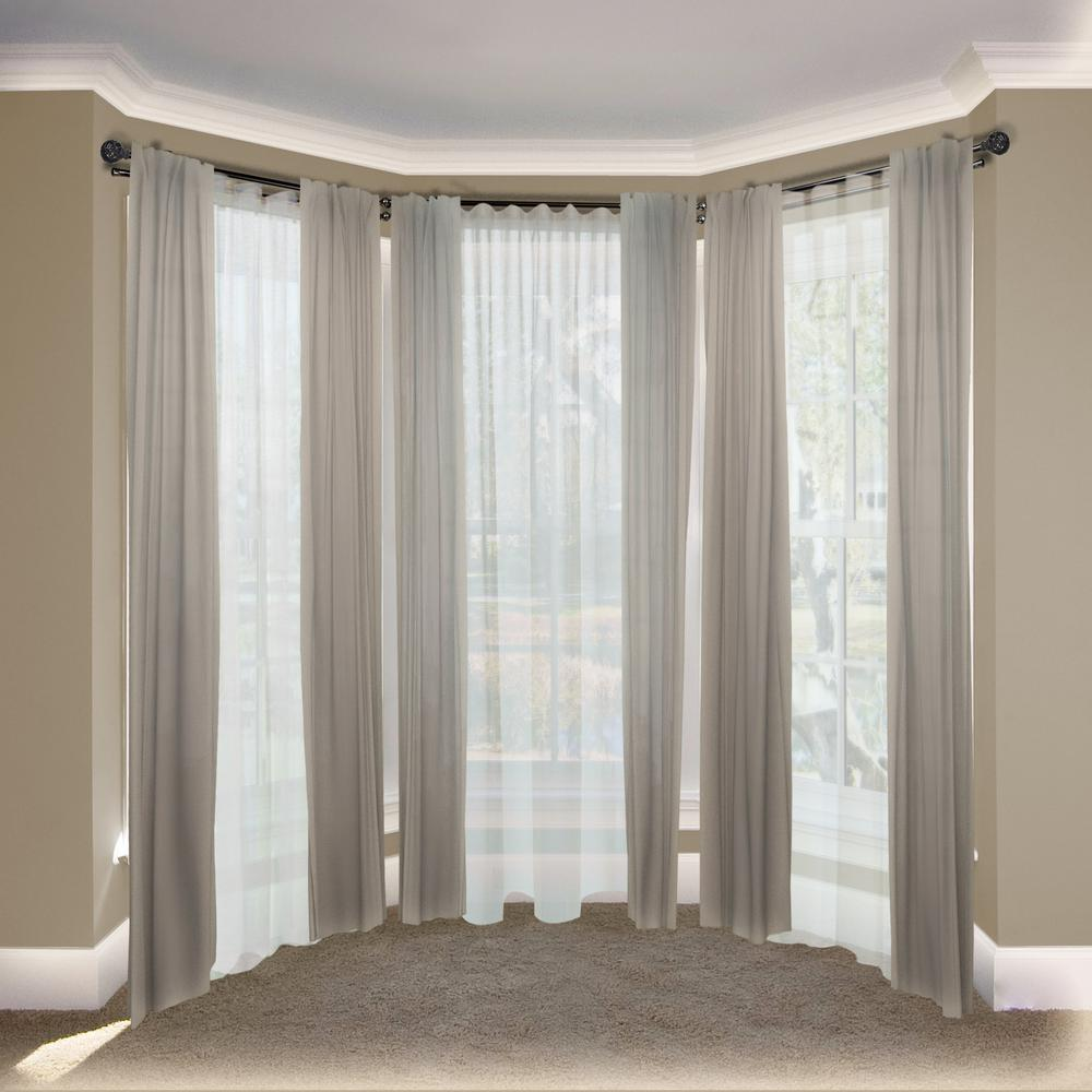 Emoh 13 16 Dia Adjule Bay Window Double Curtain Rod 20 To 36 38 72 In Black With London Finials