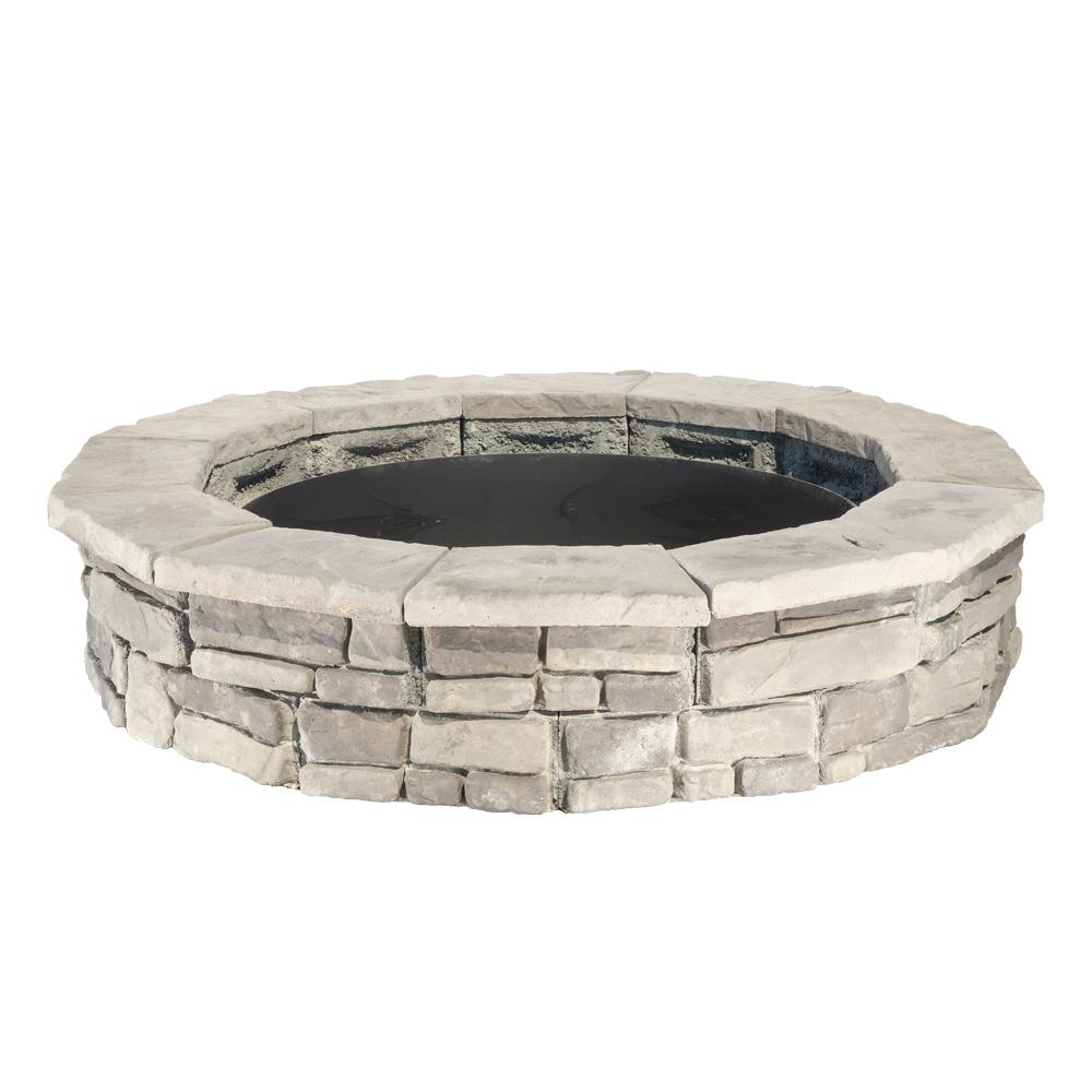 null 44 in. Random Stone Gray Round Fire Pit Kit