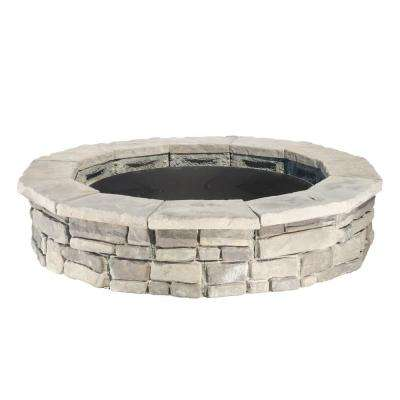 Random Stone Gray Round Fire Pit Kit - Fire Pit Kits - Hardscapes - The Home Depot