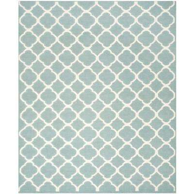 Dhurries Blue/Ivory 9 ft. x 12 ft. Area Rug