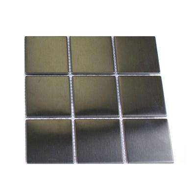 Silver Stainless Steel Square Metal Mosaic Floor and Wall Tile - 3 in. x 6 in. x 8 mm Tile Sample