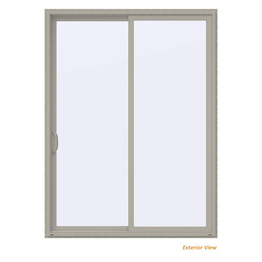 72 in. x 96 in. V-4500 Contemporary Desert Sand Vinyl Left-Hand Full Lite Sliding Patio Door