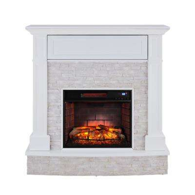 Johnna 48 in. Faux Stone Media Infrared Electric Fireplace in White