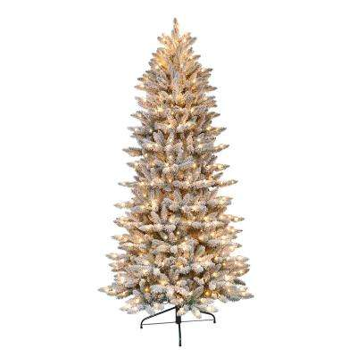 6.5 ft. Pre-Lit Flocked Slim Fraser Fir Artificial Christmas Tree with 350 UL-Listed Clear Lights