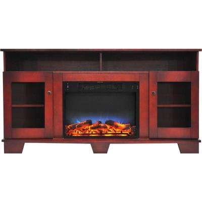 Savona 59 in. Electric Fireplace in Cherry with Entertainment Stand and Multi-Color LED Flame Display