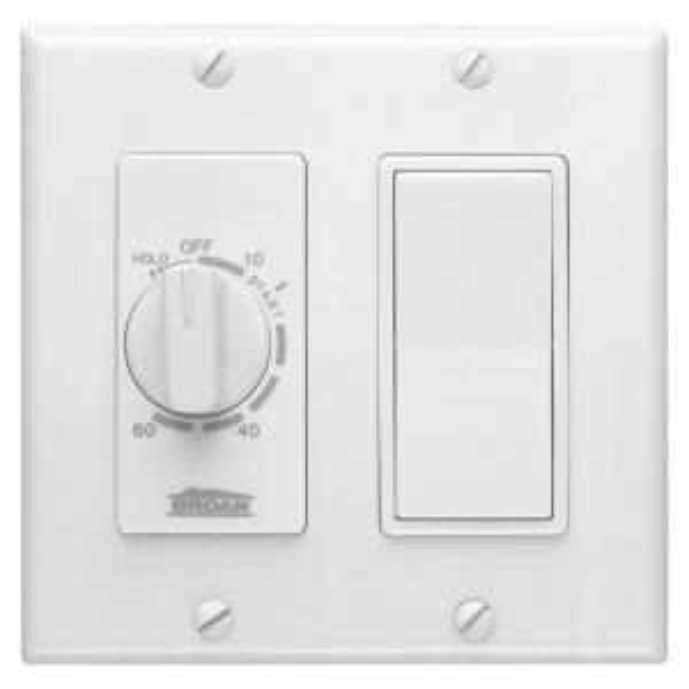 Nutone VS66WH 60 Min Timer//1 On//Off Switch Bath Fan Control White