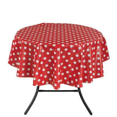 55 in. Round Indoor and Outdoor Red Polka Dot Design Table Cloth for Dining Table