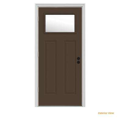 30 in. x 80 in. 1 Lite Craftsman Dark Chocolate Painted Steel Prehung Right-Hand Outswing Front Door w/Brickmould