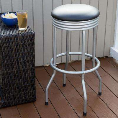 32.5 in. Silver Swivel Cushioned Bar Stool