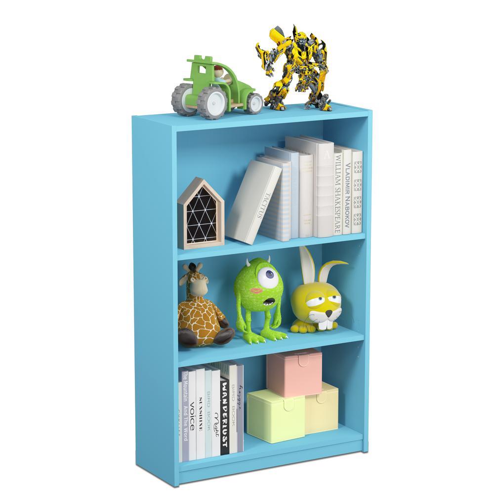 Jaya 3-Shelf Light Blue Open Bookcase