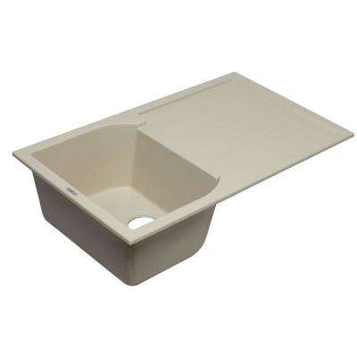 Drop-In Granite Composite 33.88 in. Single Bowl Kitchen Sink in Biscuit