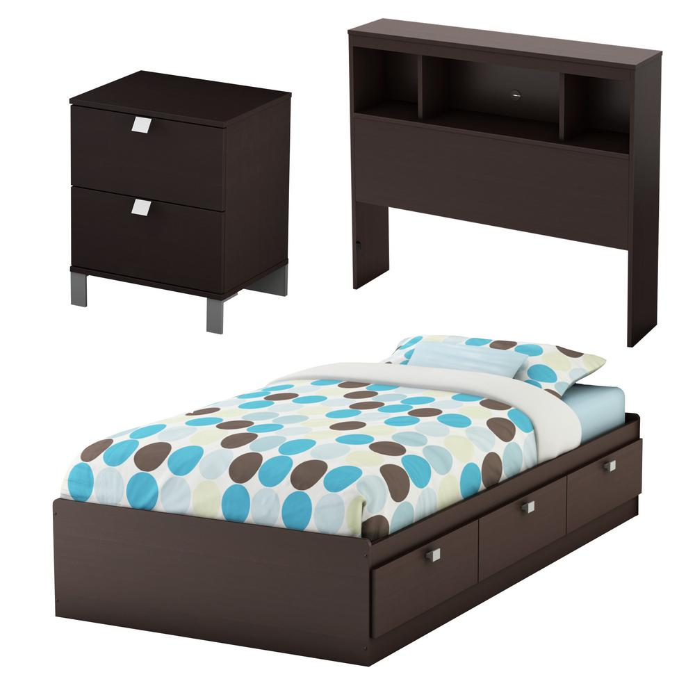 South Shore Spark 3-Piece Chocolate Twin Bedroom Set ...
