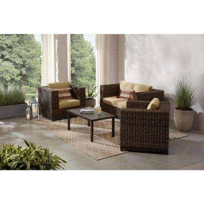 Fernlake 4-Piece Taupe Wicker Outdoor Patio Deep Seating Set with Sunbrella Beige Tan Cushions