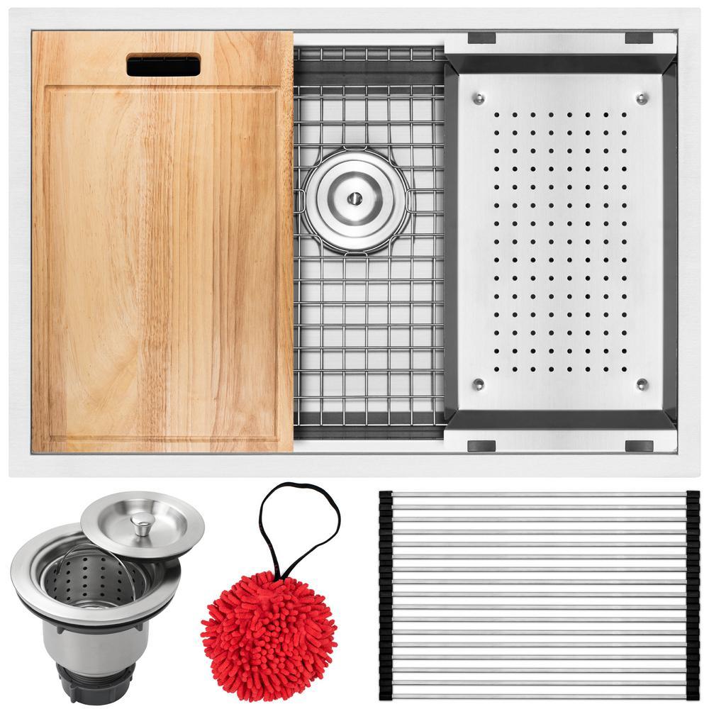 Bradford Zero Radius Undermount 16-Gauge Stainless Steel 28 in. Single Basin Kitchen Sink with Accessory Kit