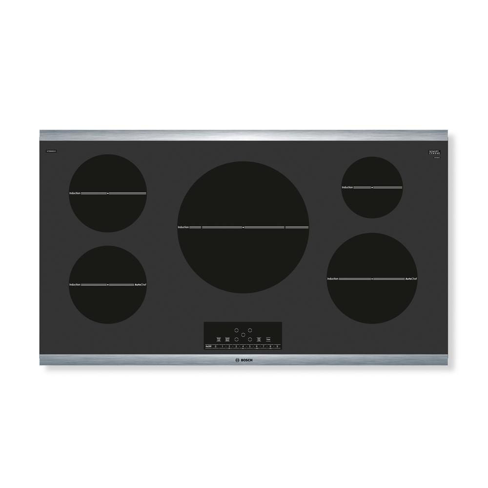 800 Series 36 in. Induction Cooktop in Black with Stainless Steel