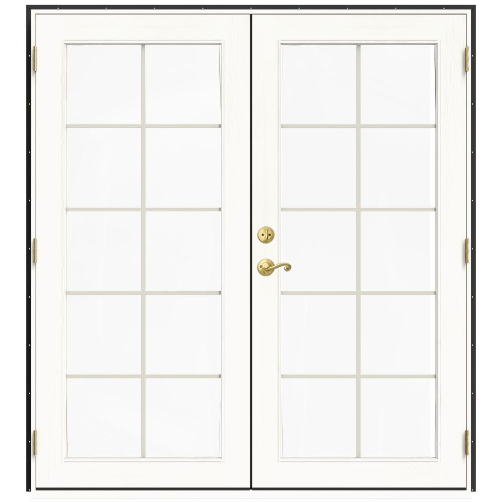 Jeld Wen 72 In X 80 In W 2500 Bronze Clad Wood Left Hand 10 Lite French Patio Door W White